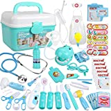 Anpro 46Stk Arztkoffer Medizinisches Spielzeug Rollenspiel Spielzeug Set, Arztkoffer Doktor Spielset Rollenspiel Kit Geschenke für Kinder (Blau)