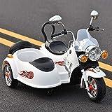 ZAKRLYB Kind Motorrad Elektro-Tandem Motorrad 3 Räder Motorrad Spielzeug Can Sit Lade Double Drive Kinderspielzeugauto for Kinder Jungen und Mädchen (Color : Weiß)