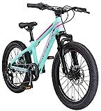 BIKESTAR Kinder Fahrrad Aluminium Mountainbike 7 Gang Shimano, Scheibenbremse ab 6 Jahre   20 Zoll Kinderrad MTB   Mint Pink