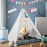 Dutetoy Tipi Kinderzimmer Spielzelt für Kinde, Zusammenklappbar Tipi Zelt für Kinder mit Tragetasche farbige Flagge, Spielzelt für Innen- und Außenspiele Kinderzelt fürKinder120*120*160cm (L*W*H)Weiß