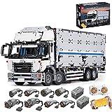 BSPAS Technik LKW mit Container Ferngesteuert Auto mit 8 Motoren, 4166 Teile Technic LKW Truck Klemmbausteine Modellbau Kompatibel mit Lego Technik