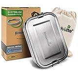 Blockhütte. Premium Edelstahl Brotdose I 800ml I für Kinder inkl. Fächern & Ersatzdichtung. I Die Frischhaltedose mit Trennwand ist auslaufsicher. I Brotzeitdose klein.
