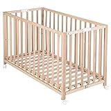 roba Klappbett 'Fold Up', Babybett 60x120 cm, Gitterbett Bio Buche natur, Bettchen 3-fach höhenverstellbar, platzsparendes Kinderbett inkl. Rollen zum Klappen