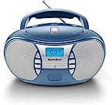 Karcher RR 5025-C tragbares CD Radio (CD-Player, Boomboxen, UKW Radio, Batterie/Netzbetrieb, AUX-In) blau