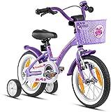 Prometheus Mädchenfahrrad 14 Zoll mit Stützräder Kinderfahrrad ab 3-4 Jahre Mädchen Rücktritt 14zoll Modell 2021 in Lila Weiss