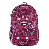 coocazoo Schulrucksack ScaleRale Tribal Melange rosa-rot, ergonomischer Tornister, höhenverstellbar mit Brustgurt und Hüftgurt für Mädchen ab der 5. Klasse, 30 Liter