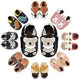 MARITONY Krabbelschuhe Leder Lauflernschuhe Jungen Mädchen Babyschuhe Weicher Leder Kleinkind Hausschuhe mit Rutschfesten Wildledersohlen 0-24 Monate