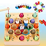 Magnetische Angelspiel Holzspielzeug 2 in 1 Montessori Lernspielzeug Magnettafel Fischspielzeug aus Holz Geschenk für Mädchen Jungen Kinder Lernen Spielzeug mit Magnetstangen, Habe EIN Patent