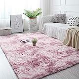 Pauwer Soft Fluffy Teppiche Kunstpelz Bodenteppich Extra Weicher und bequemer Teppich Rutschfester Indoor Fluffy Dicker Teppich für Wohnzimmer Schlafzimmer Mädchen Kinder (Pink, 120 x 160 cm)
