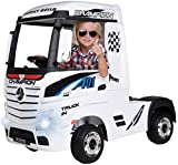 Actionbikes Motors Kinder Elektroauto Mercedes Benz Actros Truck LKW - Lizenziert - 4 x 45 Watt Motor - Allrad - Kinderauto (Weiß)