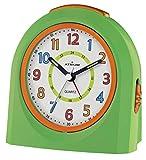 ATRIUM Wecker analog grün/orange ohne Ticken mit Licht und Snooze, Schlummerfunktion Quarz-Wecker A921-3