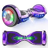 """MICROGO Hoverboard Kinder 6,5"""" Elektroroller mit Bluetooth-Lautsprechern LED-Leuchten, Geschenk für Kinder und Jugendliche (lila)"""