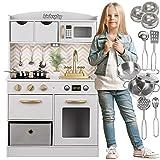 Kinderplay Kinderküche, Spielküche Holz - Küchenspielzeug Weiß und Gold mit Zubehör, Kinderküche Holz mit Licht und Sound, inkl. Induktionskochfeld, 92 cm hoch, GS0059