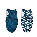 Baby Pucksack Wickel-Decke - 2er Pack Universal Verstellbare Schlafsack Decke für Säuglinge Babys Neugeborene Unisex (5-7 Monate, Blau)