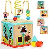 TOP BRIGHT Motorikwürfel 5-in-1 aus Holz - Aktivitäten-Würfel für Kinder und Babys von 1 und 2 Jahren - Aktivitäts-Center mit Perlenlabyrinth und Sortieren - Spielzeug für Jungen & Mädchen