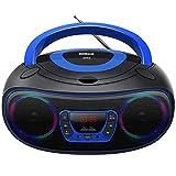 CD-Radio Tragbare CD-Player-Boombox mit Bluetooth- und FM-Radio, USB-Eingang und 3,5-mm-AUX-Kopfhörerbuchse (Schwarz)
