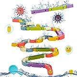 jerryvon Wasserspielzeug Kinder Waterplay Badespielzeug Baby ab 1 Jahr Wasserbahn mit Rennbahn Kreatives Badespielzeug Bausteine Wasserstraße Montessori Spielzeug Geschenke für Kinder ab 3 4 5 Jahre