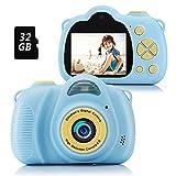 Fede Kinder Kamera, Digitalkamera Kinder Selfie Fotoapparat Kinder mit 2,0-Zoll-Großbildschirm 1080P HD 12MP 32GB SD-Karte Kamera Kinder, Lustige Geschenke Spielzeug für Mädchen Jungen Kinder