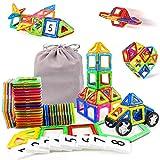 48Stk Kinderspielzeug Kleinkind Konstruktionsspielzeug 3D mit Rädern und Figur Geschenkideen Kinder Mit MEHRWEG Aufbewahrungstasche, Jungen Mädchen ab 3 4 5 6 7 8 9 Jahren