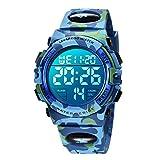 Digital Uhren für Kinder Jungen - 50 M Wasserdicht Sports Outdoor Digitaluhr Kinder Silikon Armbanduhr mit Wecker/Stoppuhr/LED-Licht/Stoßfest/Datum,Elektronische Kinderuhren Blau