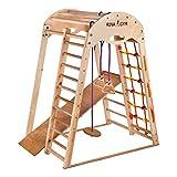 RINAGYM Kletterdreieck - Indoor-Spielplatz aus Holz für Kinder - Kletternetz, schwedische Leiter, Ringe, Rutsche - Fördert die Entwicklung - Ideal für 1 bis 5 Jahre - Trägt bis zu 60 kg