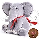 Momcozy Einschlafhilfe für Babys und Erwachsene, Tragbarer Elefant aus Plüsch Baby Spieluhr mit 15 Beruhigende Musik, 3 Farben Nachtlicht mit Sternenhimmel Projektor, Geschenk für Junge/n und Mädchen