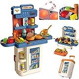 Kinderküche, 4 in 1 Trolley Koffer Spielküche inkl. Kochfeld mit Sound und Licht, Wasserhahn mit Wasser-Pump-Funktion, Kinderküche zubehör mit Spüle,Töpfen, Pfannen, Gewürze, Messer, Eier, Gemüse