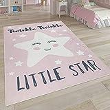 Paco Home Kinderteppich, Waschbarer Kinderzimmer Teppich m. Stern, Mond u. Karo Motiven, Grösse:80x150 cm, Farbe:Pink 3
