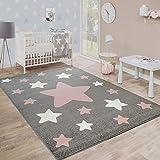 Paco Home Kinderteppich, Moderner Kinderzimmer Teppich in Pastell Farben m.Stern Motiven, Grösse:120x170 cm, Farbe:Grau
