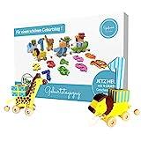 Spaßwerk® geliebter Safari Geburtstagszug Holz [extra sicher & stabil] | Geburtstagskranz universell für Jungs & Mädchen | Geburtstagskerzenhalter mit tollen Farben