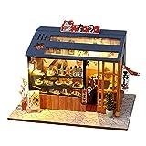 DIY Miniatur Haus Puppenhaus Kit HolzHaus Modell,im japanischen Stil Puzzle Haus mit LED-Licht (Sakura Sushi),für Mädchen und Jungen Kinder 14+ Jahre Alt