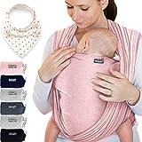 Babytragetuch aus 100% Baumwolle - Rosa – hochwertiges Baby-Tragetuch für Neugeborene und Babys bis 15 kg – inkl. Baby-Lätzchen