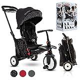 smarTrike STR5 Klappbares Kleinkinder-Dreirad mit Kinderwagen-Zertifizierung für 1,2,3 Jahre - 7 in 1 Mehrstufiges Dreirad (Schwarz und weiß)