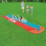 Wasserrutsche Garten XXL, Doppelte 5,5m Wasserbahn Kinder Rutsche Garten Bauch Draußen Pool Rutsche Groß Wasserspiele Spielzeug