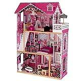 KidKraft KKR65093 65093 Amelia Puppenhaus aus Holz mit Möbeln und Zubehör, Spielset mit drei Spielebenen für 30 cm große Puppen