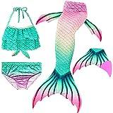 Le SSara 2018 Mädchen Meerjungfrau Tails Bikini Badeanzug setzt 4 Stücke Bademode mit Flosse für Schwimmen Cosplay Partei (110, GB02+Pink)