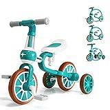 KORIMEFA 4 in 1 Laufräder Laufrad Kinderdreirad Dreirad Lauffahrrad Lauflernhilfe für Kinder ab 1 Jahre bis 4 Jahren (Grün)