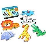 MIORIO Montessori Puzzlebox Holz Cartoon Puzzle Verdicken Holz Früherziehung Spielzeug Tangram Kinder 3+ Geschenk 6 Stück Blechdose Verpackung