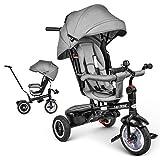 besrey Dreirad 7-in-1 Kinder Fahrrad mit 360° Drehsitz + Luftkammerrad + Liegefunktion ab 9 Monate bis 6 Jahre + Regenschutz - Grau