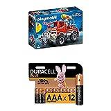 Playmobil City Action 9466 Feuerwehr-Truck mit Licht- und Soundeffekten, Ab 4 Jahren + Duracell Plus AAA Alkaline-Batterien, 12er Pack