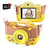 Kriogor Kinder Kamera, Digital Fotokamera Selfie und Videokamera mit 12 Megapixel/ Dual Lens/ 2 Inch Bildschirm/ 1080P HD/ 32G TF Karte, Geburtstagsgeschenk für Kinder (Gelb)