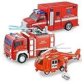 JOYIN 3 in 1 Reibungsgetriebenes Feuerwehr Spielzeug, Rettung Fahrzeug LKW Auto Set mit Hubschrauber, Krankenwagen und Feuerwehrauto mit Licht und Ton, Geschenk für Kinder Jungen