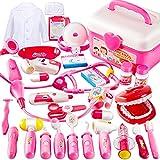 BUYGER 2 in 1 Arztkoffer Medizinisches Doktor Arztkittel Rollenspiel Spielzeug ab 3 Jahre Mädchen Junge Kinder Geschenke(Rosa)