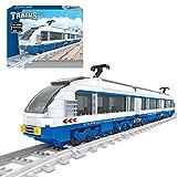LIND Technik Zug Eisenbahn Bausteine, 681 Klemmbausteine Technik City Güterzug mit Schiene Bausatz, Technik Zug Lokomotive Bauset Konstruktionspielzeug Kompatibel mit Lego