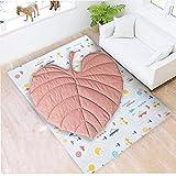 OMMO LEBEINDR Neugeborene Baby-Kriechen Teppich Matte, Blatt-Form Teppich, Spielmatte Schlafen, Krabbeln Decke Cotton Soft, Kinderzimmerdekoration, Pink Pad