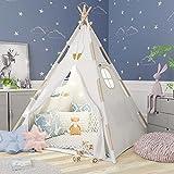 Tipi Zelt für Kinder - Tippi Kinderzelt für drinnen - Tipi Zelt Kinderzimmer - Spielzelt Mädchen und Spielzelt Junge - Kinder Tipi Zelt - Deko Zelt Kindertipi Indoor - Tipi Zelt Kinder