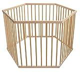 WALDIN Baby Laufgitter Laufstall ca. 126x108 BUCHE MASSIV, 6-Eck,Buche Massiv-Holz natur unbehandelt