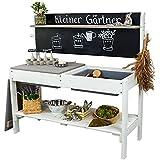 Meppi Matschküche Kleiner Gärtner - Weiss / grau - Outdoorküche aus Holz