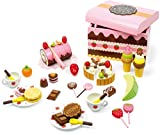 small foot 2847 Süßigkeitenkiste aus Holz, Zubehör für Kaufladen und Kinderküche mit Süßigkeiten, 56-TLG, Natur