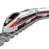 LIND Technik Zug Eisenbahn Bausteine, 647+ Klemmbausteine Technik City Güterzug mit Schiene Bausatz, Technik Elektrisch Zug Hochgeschwindigkeitszug mit Beleuchtungsset Bauset Kompatibel mit Lego